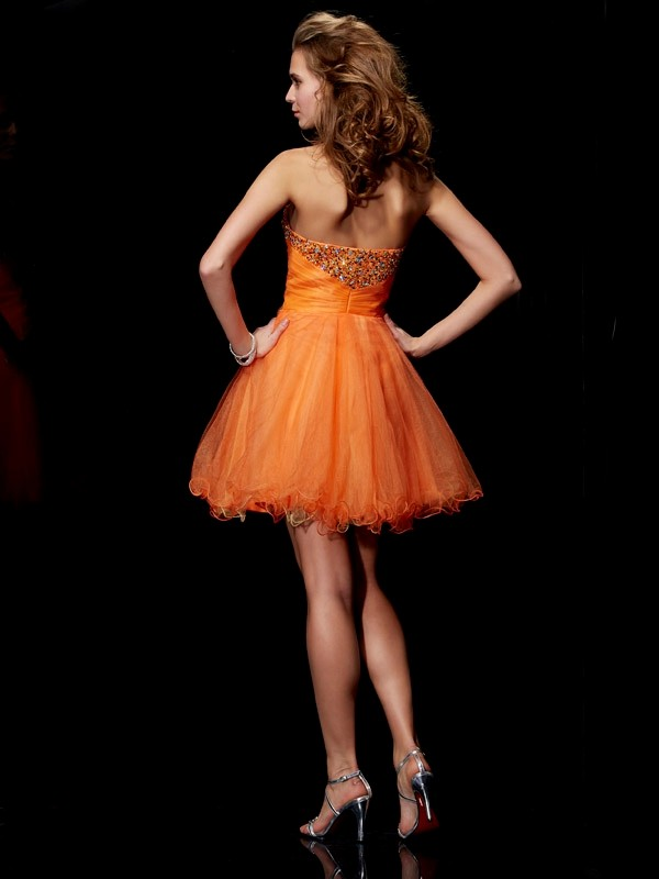 A-Line/Princess Strapless Sleeveless Beading Short Organza Dresses