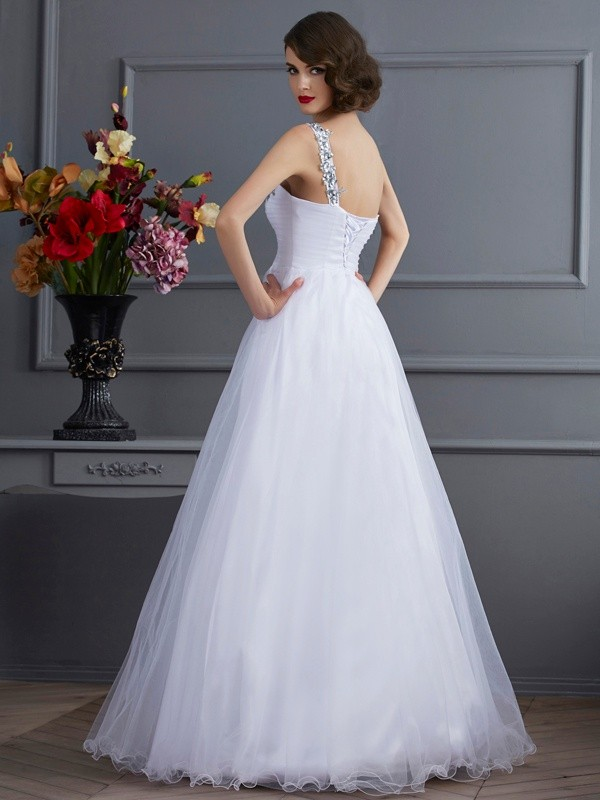 Ball Gown One-Shoulder Sleeveless Beading Long Elastic Woven Satin Quinceanera Dresses