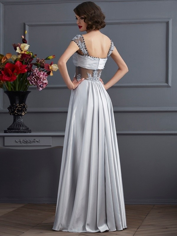 A-Line/Princess Off the Shoulder Sleeveless Pleats Long Elastic Woven Satin Dresses