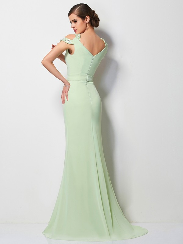 A-Line/Princess V-neck Sleeveless Beading Long Chiffon Dresses