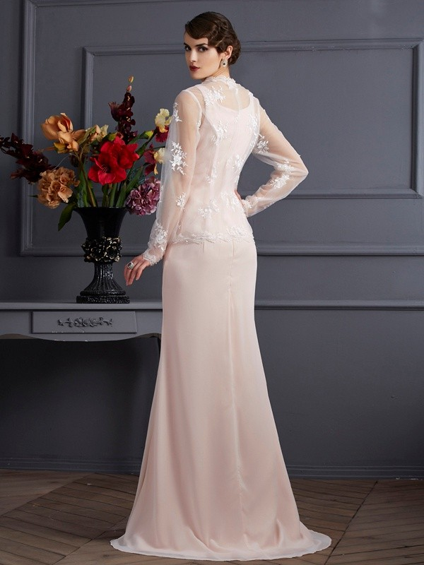 Sheath/Column Square Sleeveless Long Chiffon Mother of the Bride Dresses