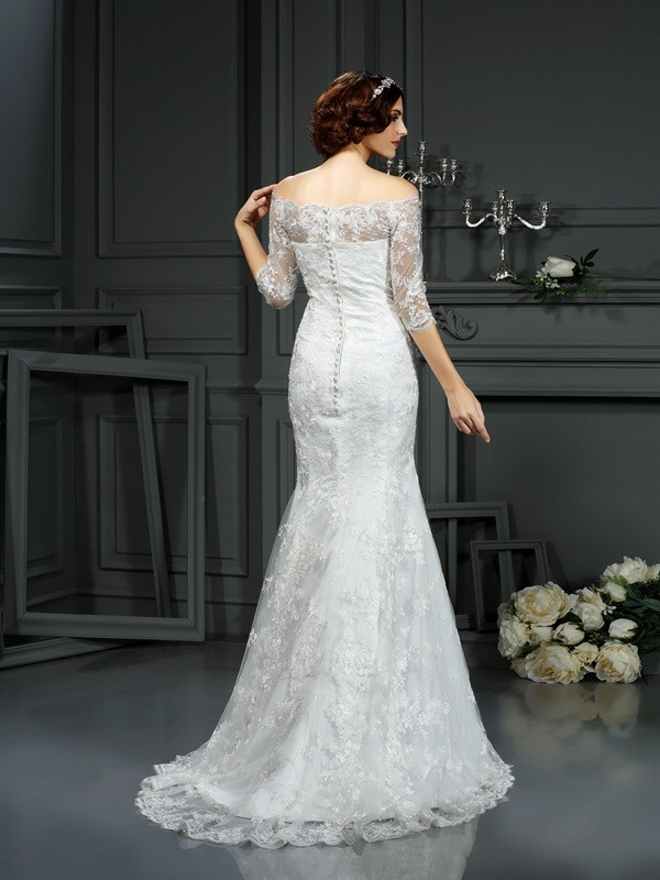 Sheath/Column Off-the-Shoulder Lace 1/2 Sleeves Long Lace Wedding Dresses