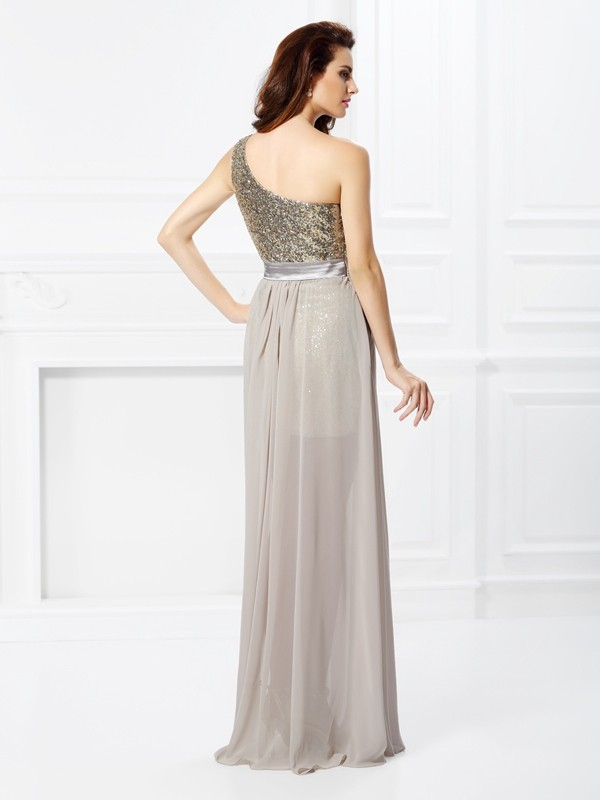 A-Line/Princess One-Shoulder Sequin Sleeveless Long Chiffon Dresses