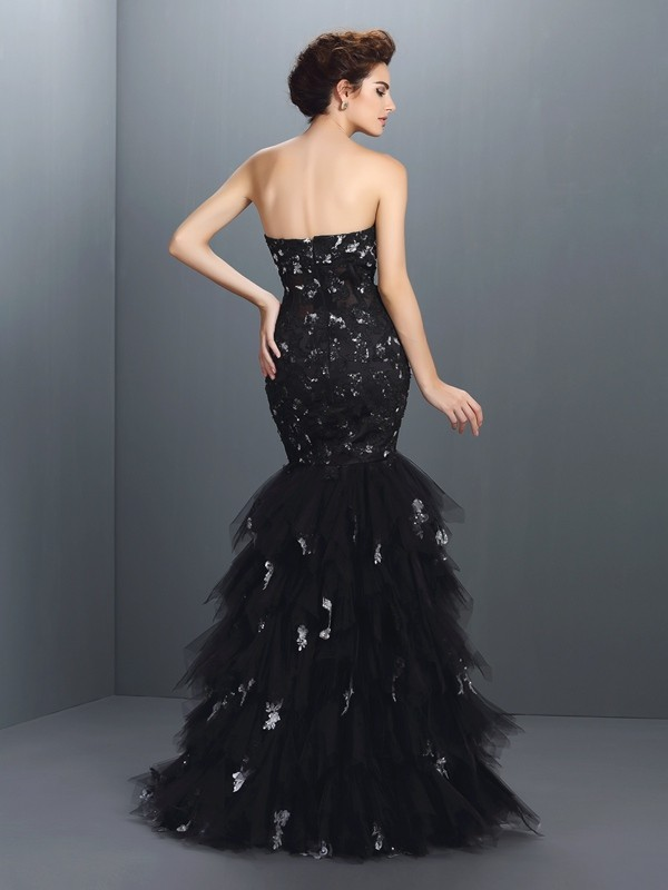 Trumpet/Mermaid Sweetheart Paillette Sleeveless Long Net Dresses