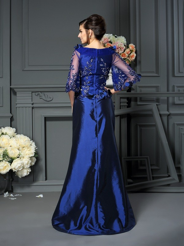 A-Line/Princess Scoop Beading 1/2 Sleeves Long Taffeta Mother of the Bride Dresses