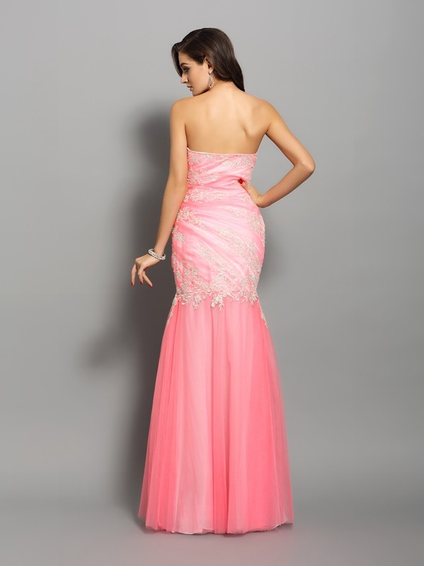 Trumpet/Mermaid Sweetheart Beading Sleeveless Long Elastic Woven Satin Dresses