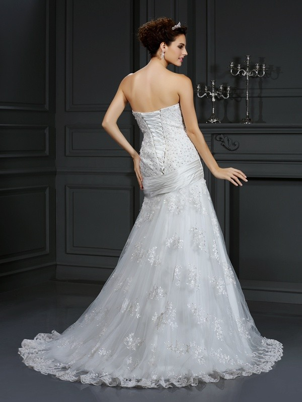 Sheath/Column Strapless Applique Sleeveless Long Satin Wedding Dresses