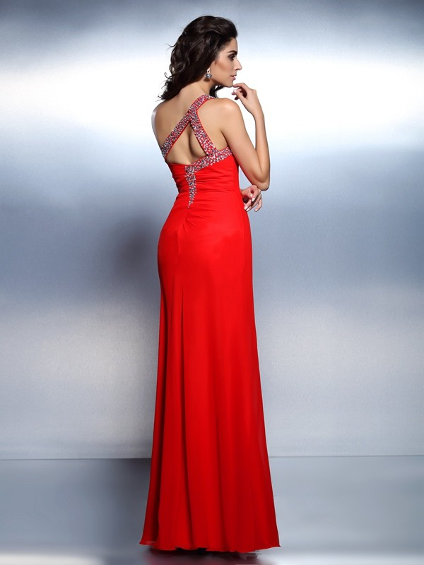 Trumpet/Mermaid One-Shoulder Beading Sleeveless Long Chiffon Dresses