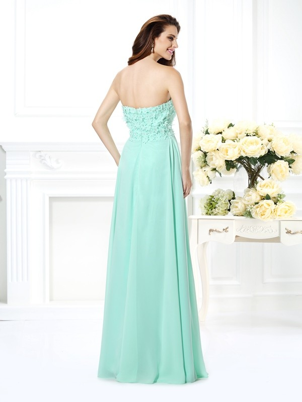 A-Line/Princess Sweetheart Sleeveless Long Chiffon Bridesmaid Dresses