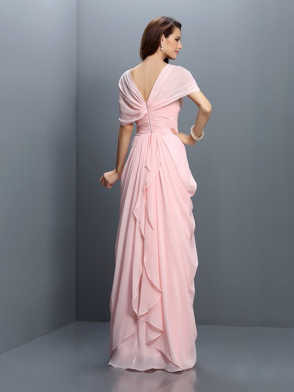A-Line/Princess Sweetheart Pleats Short Sleeves Long Chiffon Bridesmaid Dresses