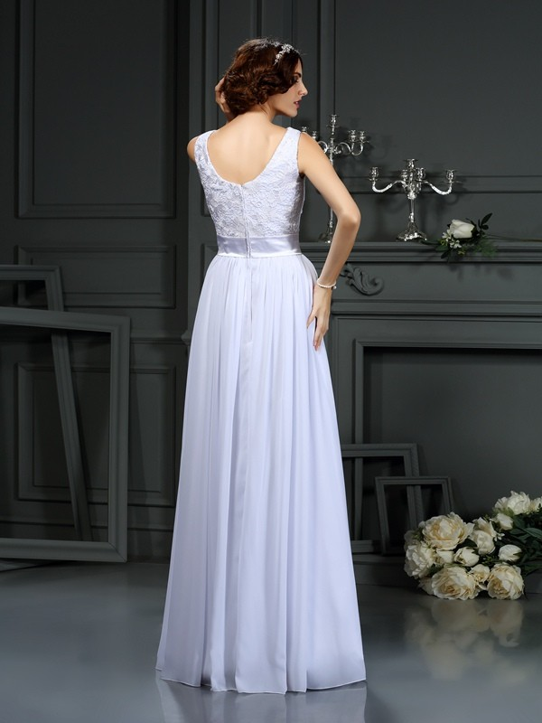 A-Line/Princess Scoop Lace Sleeveless Long Chiffon Wedding Dresses
