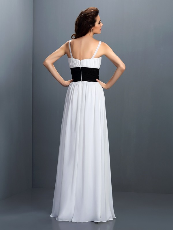 A-Line/Princess V-neck Sash/Ribbon/Belt Sleeveless Long Chiffon Bridesmaid Dresses