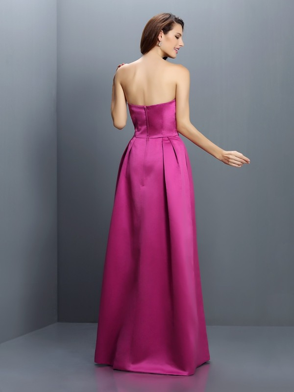 Sheath/Column Strapless Sleeveless Long Satin Bridesmaid Dresses