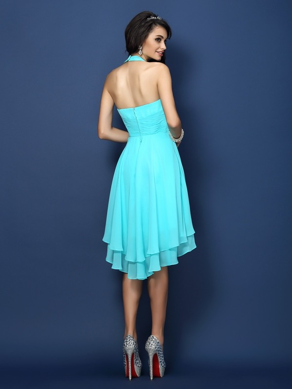 A-Line/Princess Halter Pleats Sleeveless Short Chiffon Bridesmaid Dresses