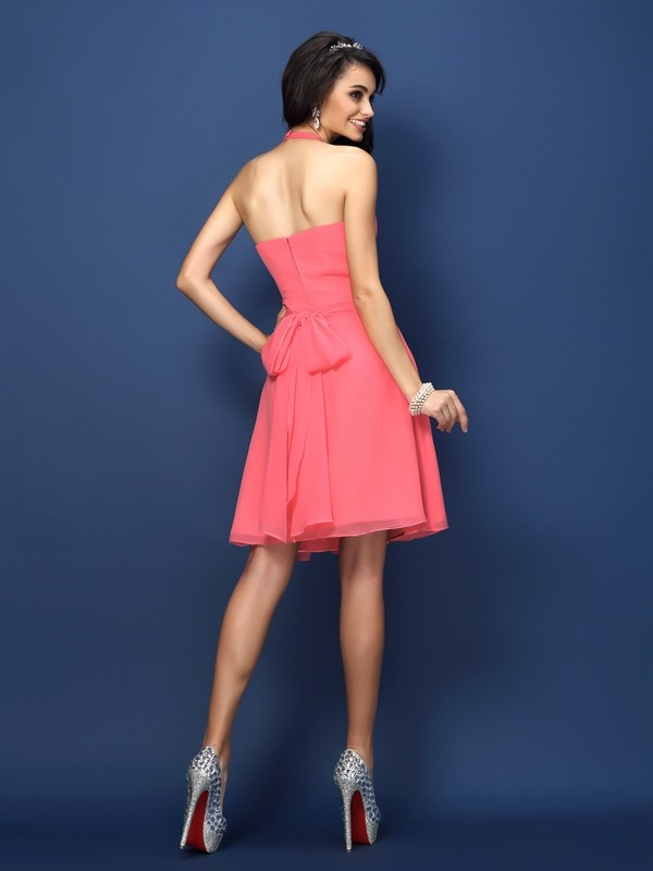 A-Line/Princess Halter Pleats Bowknot Sleeveless Short Chiffon Bridesmaid Dresses