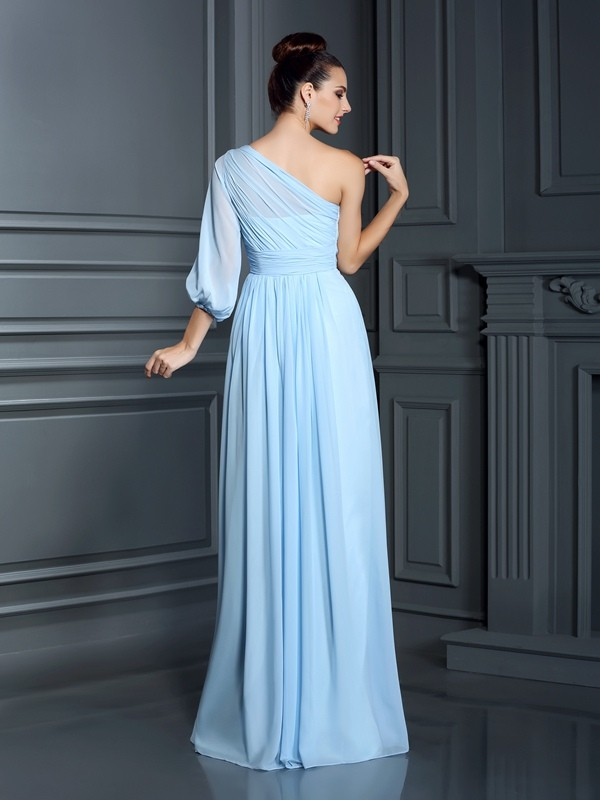 Sheath/Column One-Shoulder 3/4 Sleeves Long Chiffon Bridesmaid Dresses
