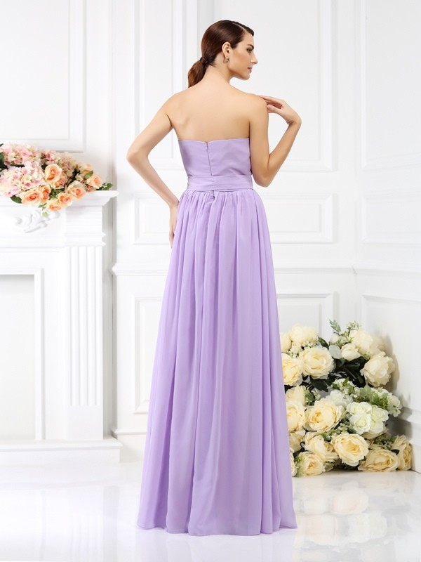 A-Line/Princess Strapless Sash/Ribbon/Belt Sleeveless Long Chiffon Bridesmaid Dresses