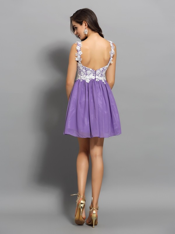 A-Line/Princess Straps Applique Sleeveless Short Chiffon Cocktail Dresses