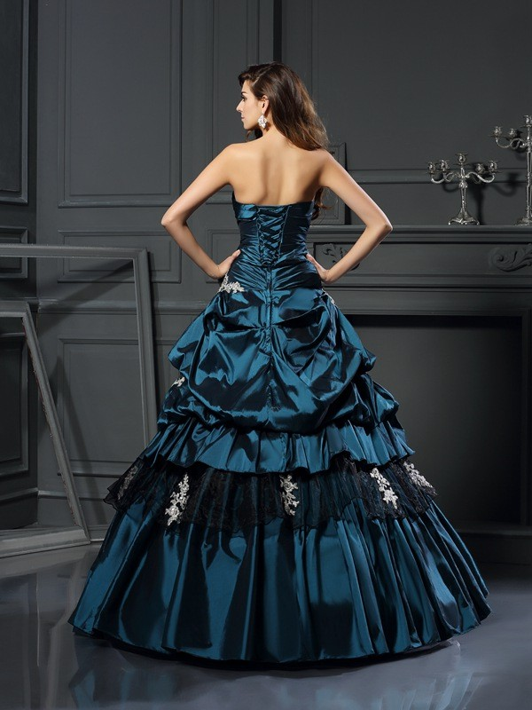 Ball Gown Sweetheart Beading Sleeveless Long Taffeta Quinceanera Dresses