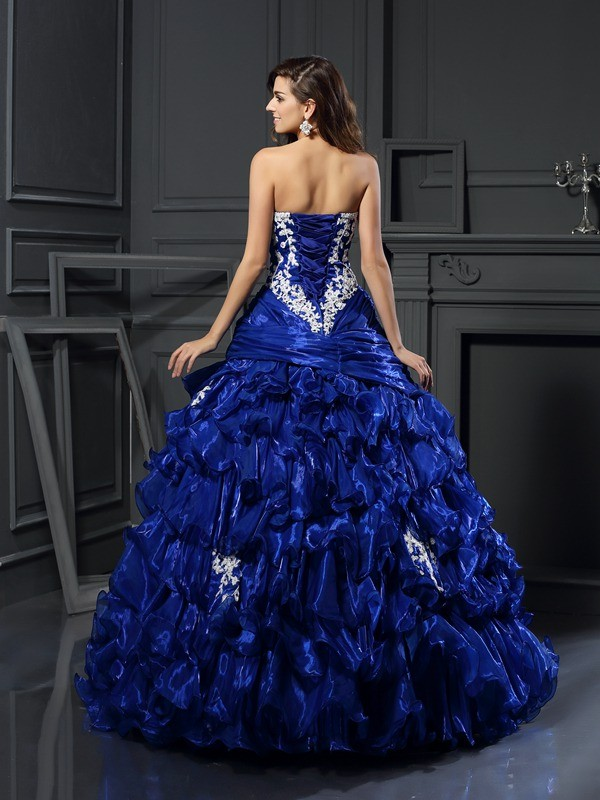 Ball Gown Sweetheart Beading Applique Sleeveless Long Tulle Quinceanera Dresses