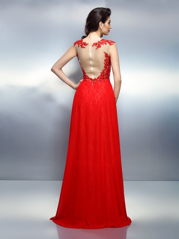 A-Line/Princess Bateau Applique Sleeveless Long Net Dresses