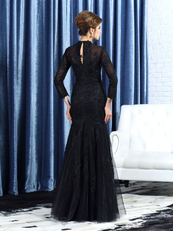 Trumpet/Mermaid High Neck Applique Long Sleeves Long Tulle Mother of the Bride Dresses