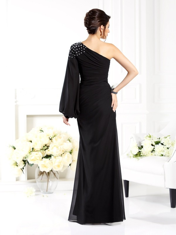 Sheath/Column One-Shoulder Beading Long Sleeves Long Chiffon Mother of the Bride Dresses