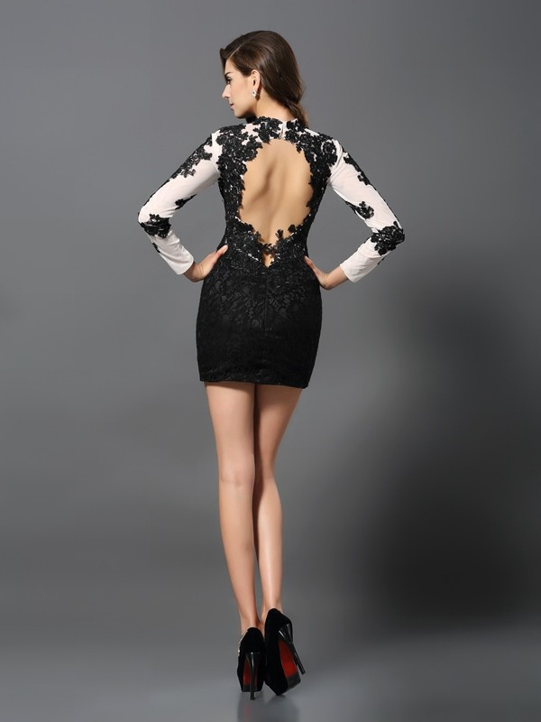 Sheath/Column High Neck Applique Long Sleeves Short Lace Cocktail Dresses