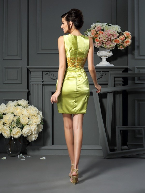 Sheath/Column Scoop Beading Sleeveless Short Silk like Satin Mother of the Bride Dresses