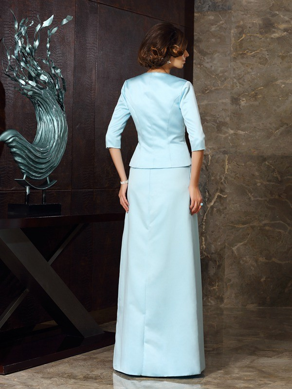 Sheath/Column Strapless Sleeveless Long Satin Mother of the Bride Dresses