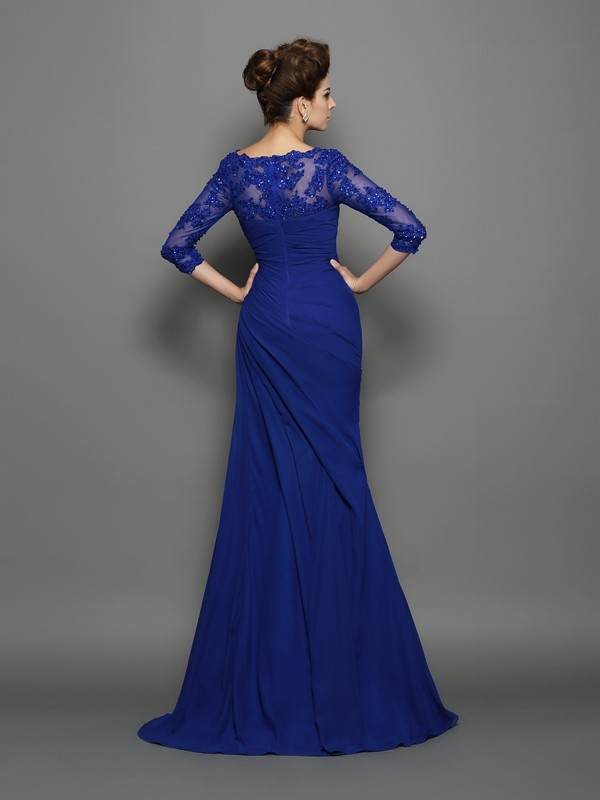 Trumpet/Mermaid Sweetheart Ruched 3/4 Sleeves Long Chiffon Mother of the Bride Dresses