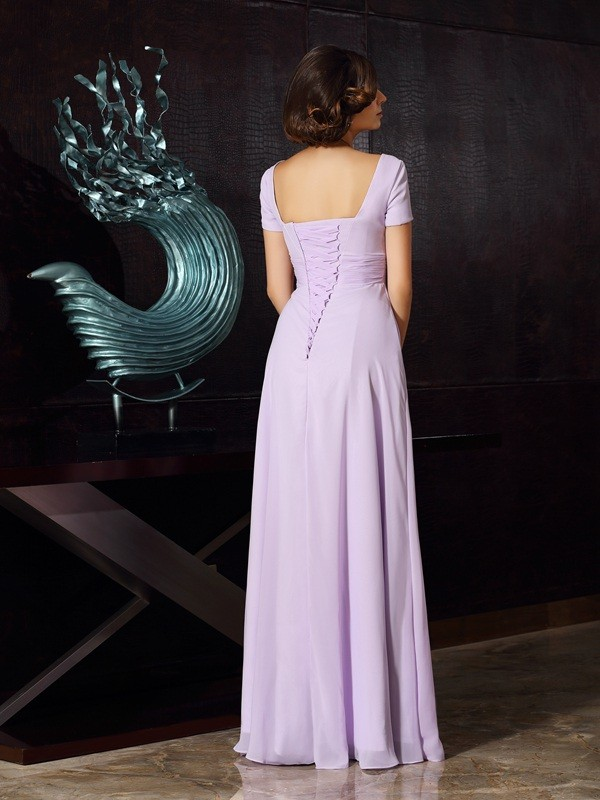 A-Line/Princess Square Beading Sleeveless Long Chiffon Mother of the Bride Dresses