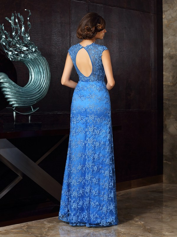 Trumpet/Mermaid High Neck Applique Sleeveless Long Satin Mother of the Bride Dresses