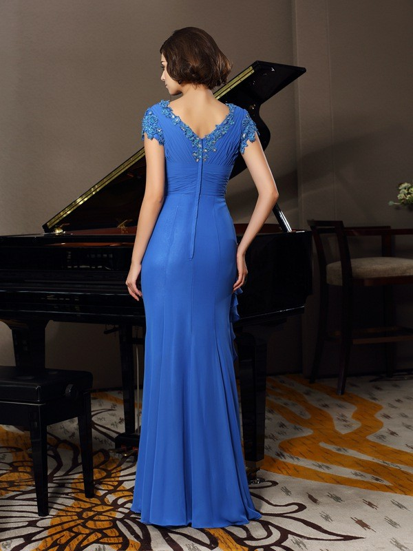 A-Line/Princess V-neck Beading Applique Short Sleeves Long Chiffon Mother of the Bride Dresses