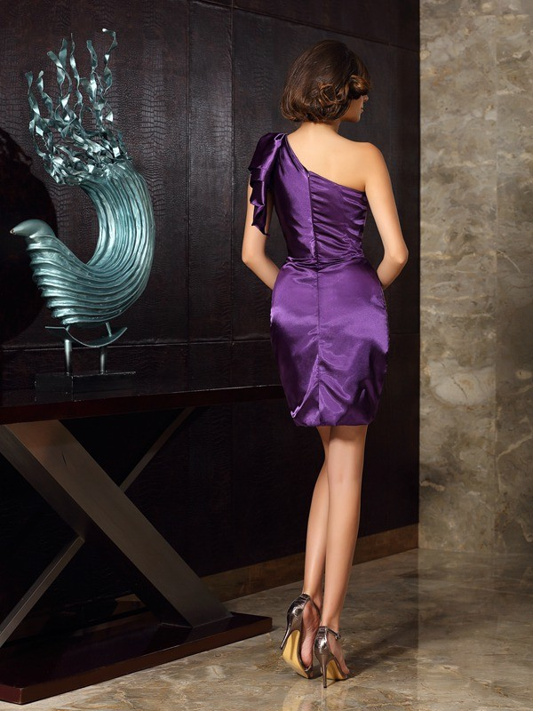 Sheath/Column One-Shoulder Sleeveless Short Elastic Woven Satin Mother of the Bride Dresses