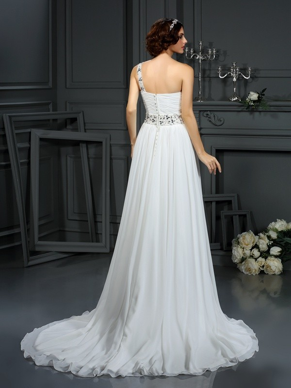 A-Line/Princess One-Shoulder Beading Sleeveless Long Chiffon Wedding Dresses