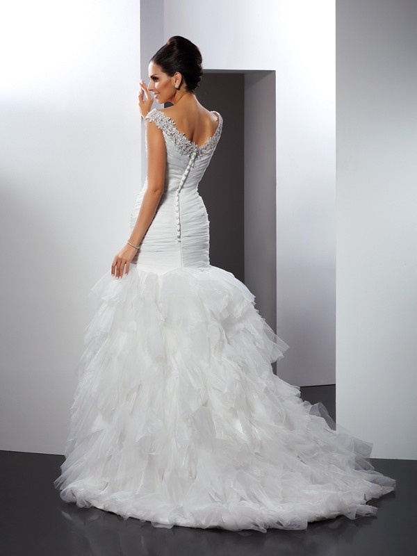 Trumpet/Mermaid V-neck Applique Sleeveless Long Tulle Wedding Dresses