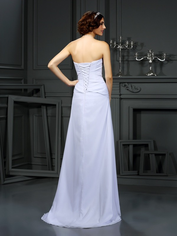Sheath/Column Strapless Beading Sleeveless Long Chiffon Wedding Dresses