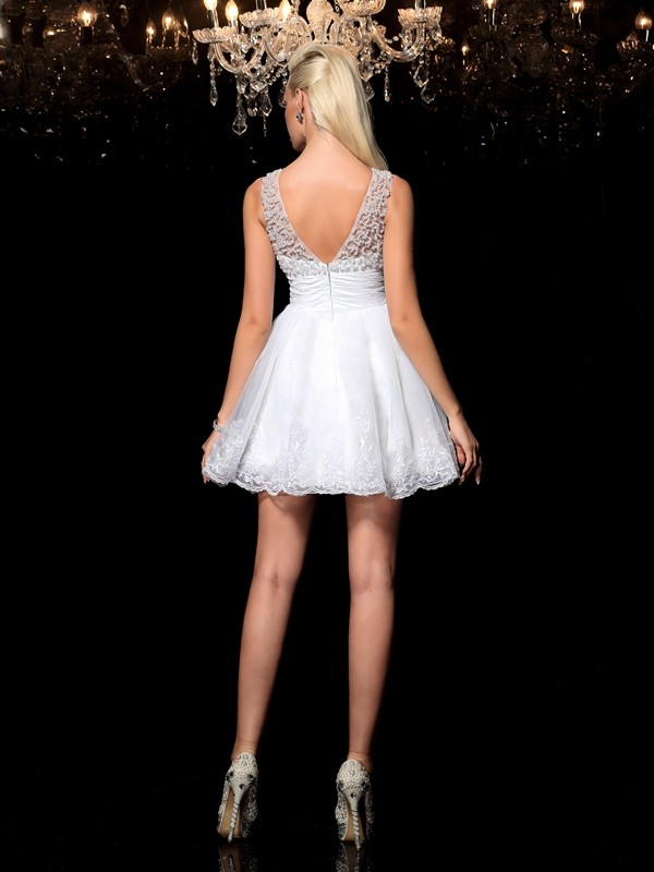 A-Line/Princess Sheer Neck Beading Sleeveless Short Elastic Woven Satin Cocktail Dresses
