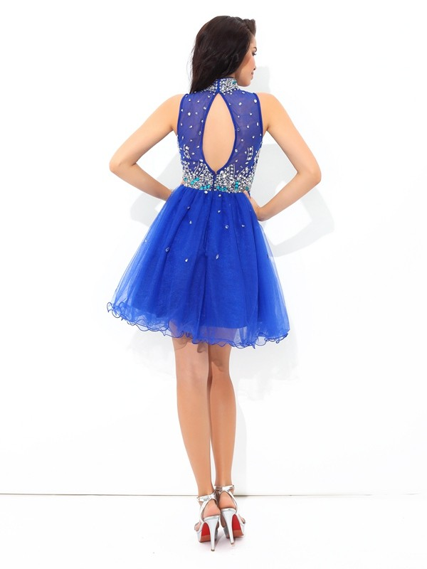 A-Line/Princess High Neck Beading Sleeveless Short Net Cocktail Dresses