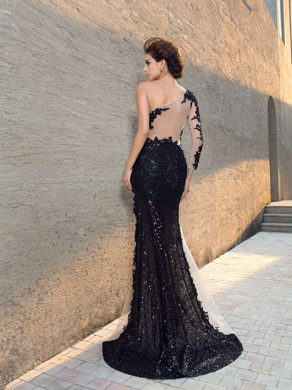 Sheath/Column One-Shoulder Sequin Long Sleeves Long Lace Dresses