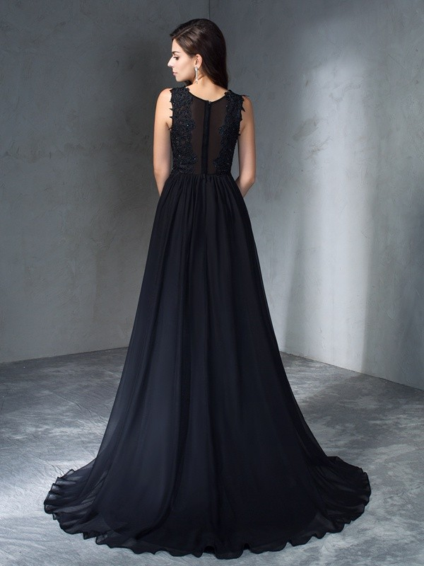 A-Line/Princess Scoop Applique Sleeveless Long Chiffon Dresses