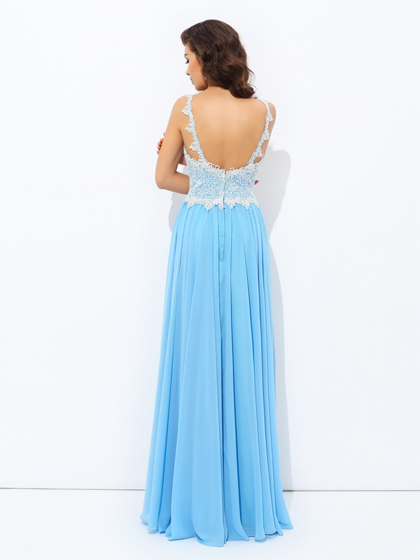 A-Line/Princess V-neck Lace Sleeveless Long Chiffon Dresses
