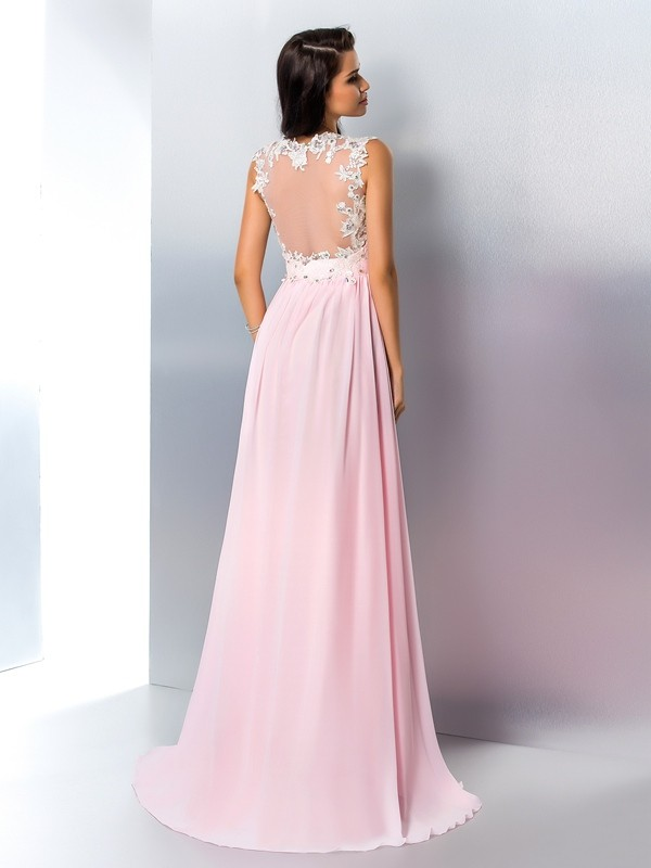 A-Line/Princess V-neck Applique Sleeveless Long Chiffon Dresses