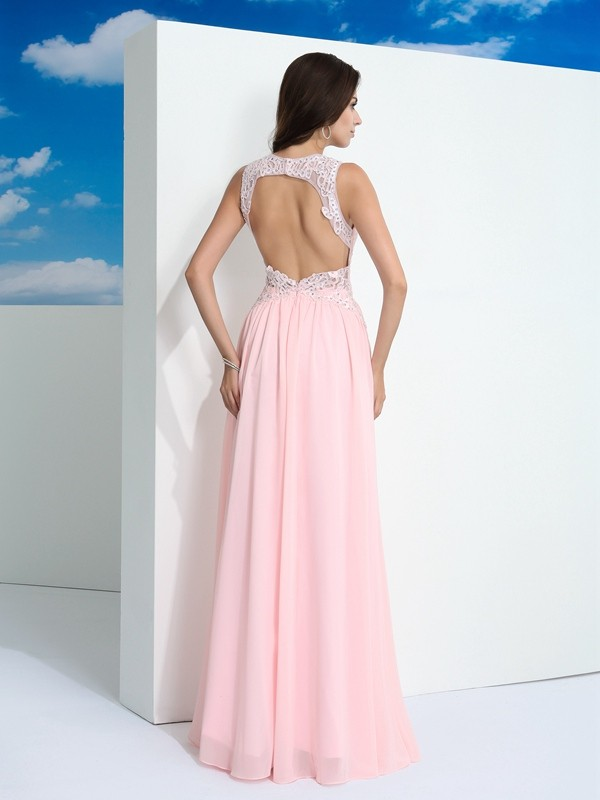 A-Line/Princess Straps Beading Sleeveless Long Chiffon Dresses