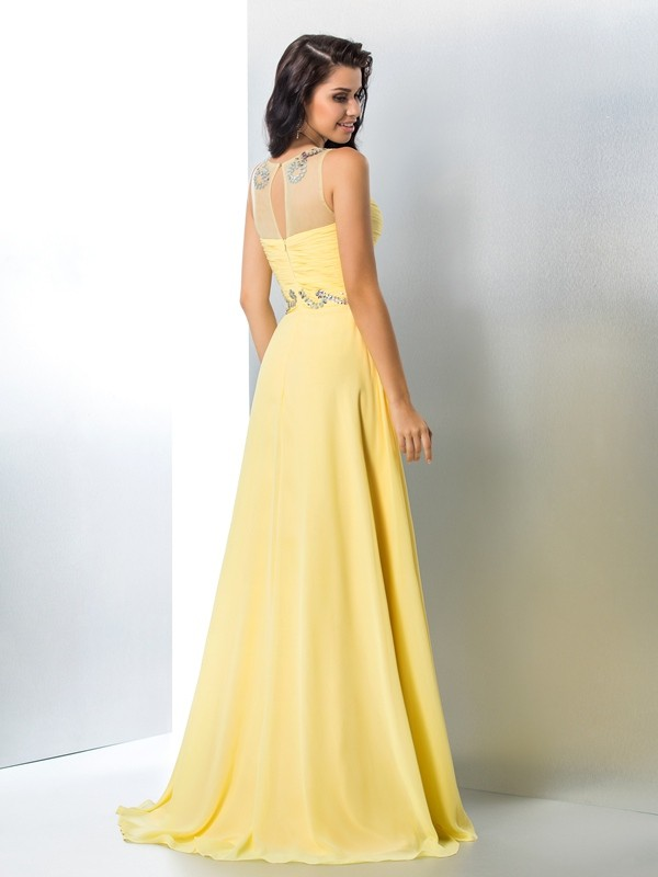 A-Line/Princess Sheer Neck Beading Sleeveless Long Chiffon Dresses