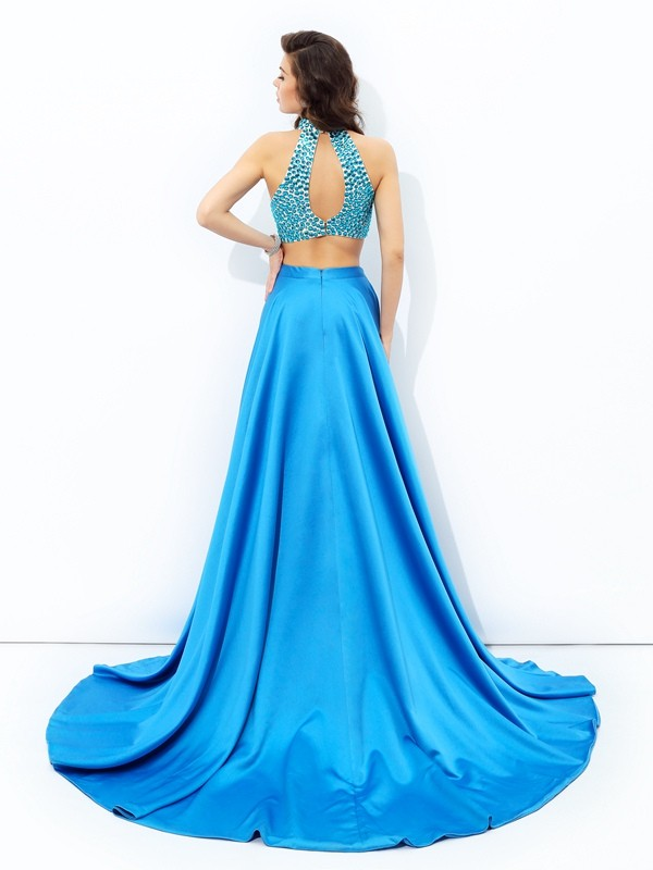 A-line/Princess High Neck Beading Sleeveless Long Satin Two Piece Dresses