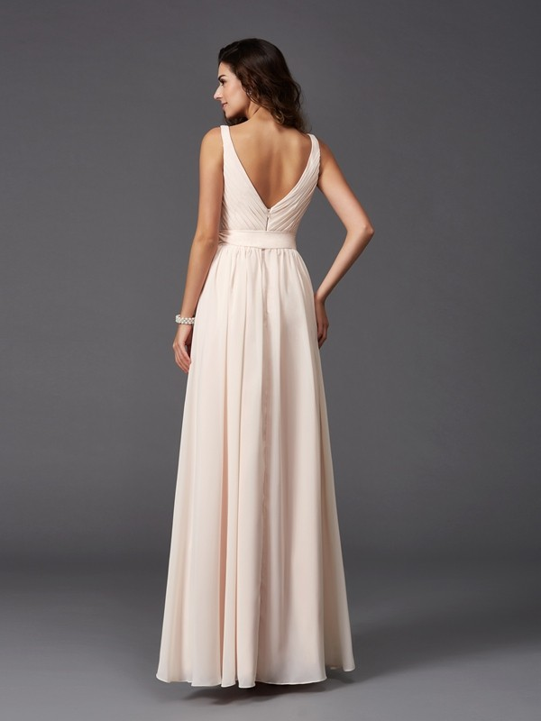 A-Line/Princess Straps Sash/Ribbon/Belt Sleeveless Long Chiffon Bridesmaid Dresses