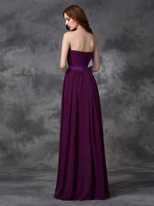 A-line/Princess Sweetheart Ruched Sleeveless Long Chiffon Bridesmaid Dresses