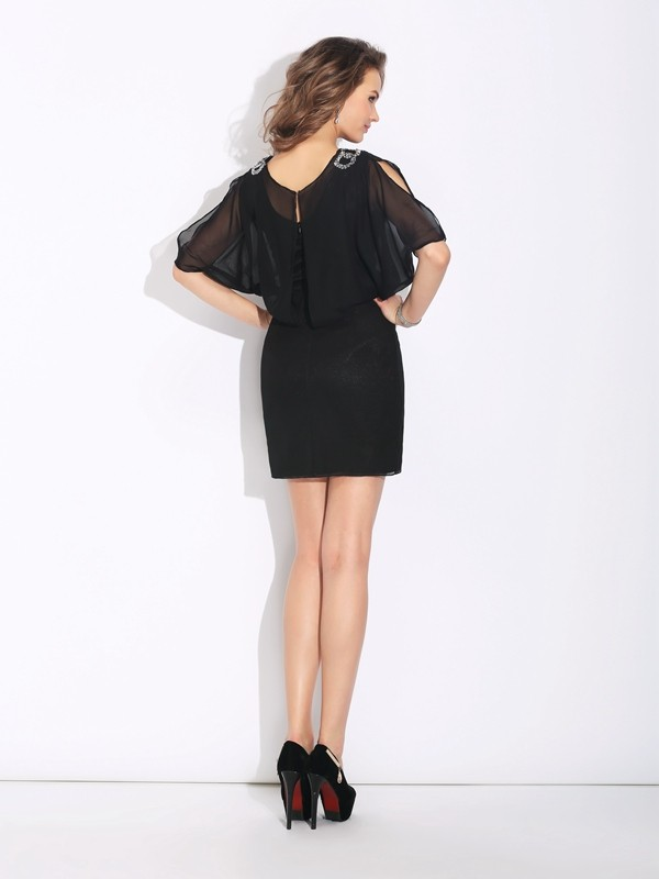 A-Line/Princess Jewel Beading 1/2 Sleeves Short Chiffon Dresses